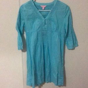 Lilly Pulitzer XS blue coverup 3/4 sleeve Alta